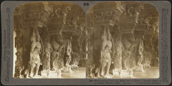 Grotesque fancy and patient skill of Hindu sculptors - pillars of the temple, Madura, India